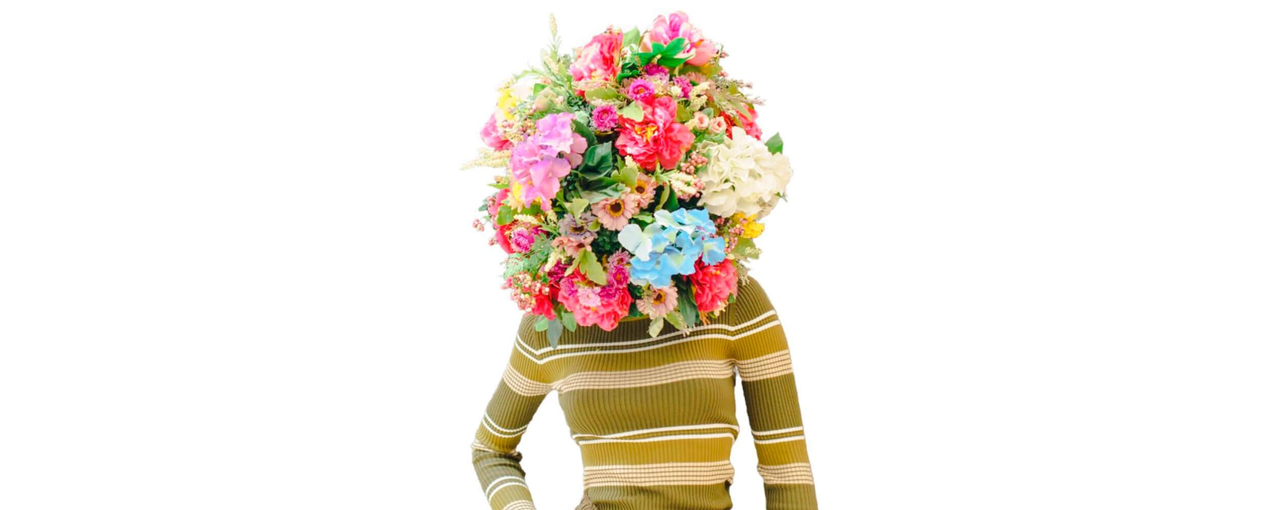 Woman with flowerhead